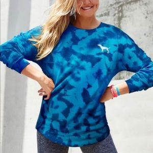 PINK Victoria Secret Blue Tie Dye Sweatshirt Sz M
